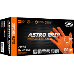 SAS ASTRO GRIP PF ORANGE NITRILE GLOVES MEDIUM (BOX 100) image